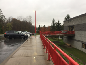 Camillus Fire Department voting entrance on a rainy election Tuesday morning.