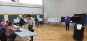 Voters sign in at polling place.