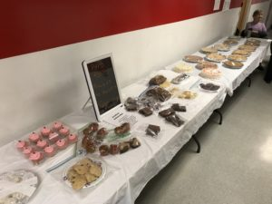 Baked goods on a table at a polling station