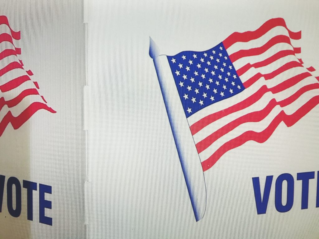 An american flag with the word vote underneath in blue.