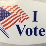 """An """"I Voted"""" Sticker handed out to voters after their ballots were submitted."""