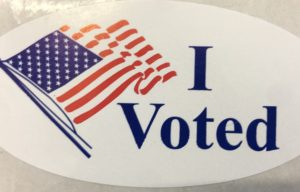 "An ""I Voted"" Sticker handed out to voters after their ballots were submitted."