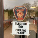 Sign outside polling place