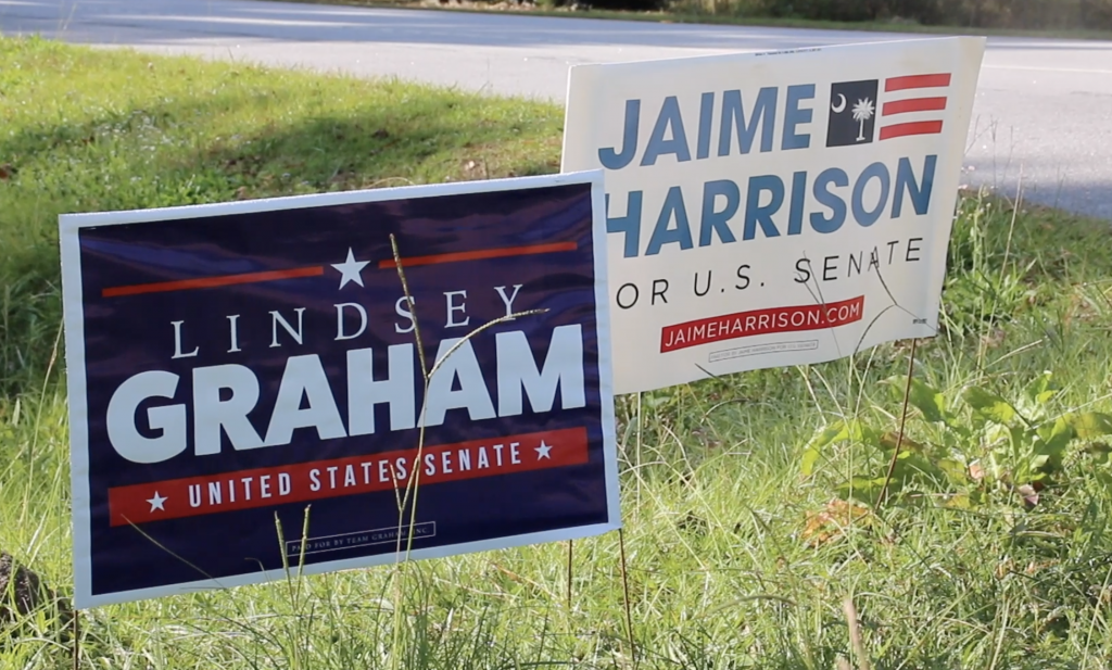 Campaign signs for Graham and Harrison