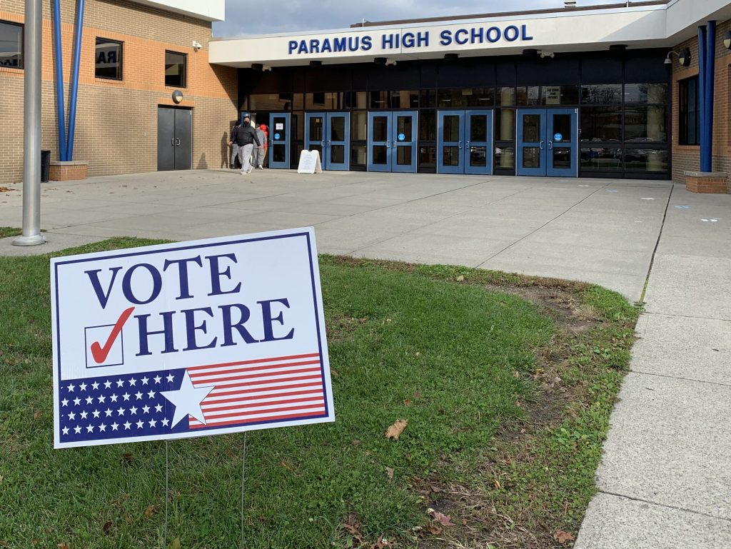 Voters in Paramus, New Jersey can drop off their absentee ballots at Paramus High School today on Election Day to make sure their vote gets counted. (c) 2020 Talia Gerardi