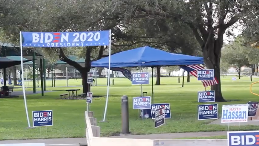 Joe Biden campaign tent at a polling station in Miami Lakes, Florida
