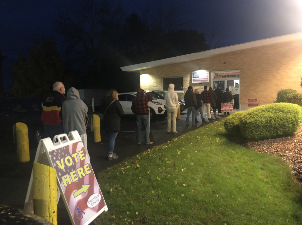 Voters waiting in line at Solvay Geddes Youth Center
