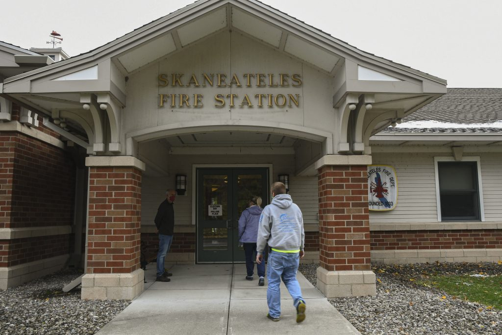Voters enter the Skaneateles Fire Station to vote on Election Day
